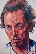 Bruce Springsteen Prints On Canvas Paintings - Bruce by Tachi Pintor