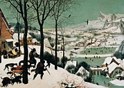 Snow Covered Village Posters - Bruegel Pieter Il Vecchio, The Hunters Poster by Everett