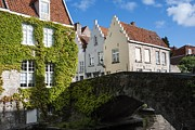Stone Bridge Framed Prints - Bruges Gabled Homes Along Waterway Framed Print by Juli Scalzi