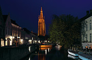 Church Of Our Lady Framed Prints - Bruges Night Shot of Church of Our Lady Framed Print by Kiril Stanchev
