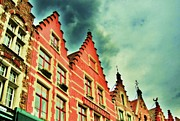 Belgium Digital Art - Bruges rooflines by C Lythgoe