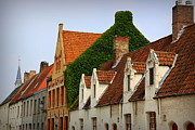 Tiled Prints - Bruges Rooftops Print by Carol Groenen