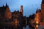 Night Scenes Framed Prints - Bruges Rozenhoedkaai Night Scene Framed Print by Kiril Stanchev