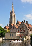 Brick Buildings Art - Bruges spire by Matt MacMillan