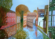 Magdalena Frohnsdorff Framed Prints - Brugge canal Framed Print by Magdalena Frohnsdorff