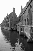 Belgium Photos - Brugge Reflection - Black and White by Carol Groenen