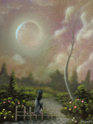 Swing Art Paintings - Bruised By Envy. Fantasy Landscape Fairytale Art By Philippe Fernandez  by Philippe Fernandez