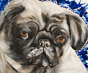Fawn Pug Paintings - Bruiser by Sara Homerding