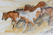 Horses Posters Painting Posters - Bruneau Idaho Poster by Janina  Suuronen