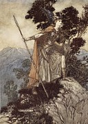 Rocks Drawings Prints - Brunnhilde from The Rhinegold and the Valkyrie Print by Arthur Rackham