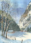 Switzerland Painting Originals - Brunni Valley in Canton Uri by David Gilmore
