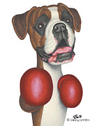 Boxer Dog Drawings Framed Prints - Bruno Framed Print by Danny Gordon
