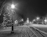 Winter Night Prints - Brunswick Maine Print by Benjamin Williamson
