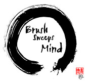 Buddhist Art Mixed Media Posters - Brush Sweeps Mind Poster by Peter Cutler
