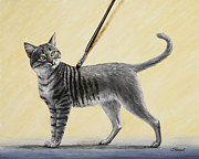 Gray Painting Posters - Brushing the Cat - No. 2 Poster by Crista Forest