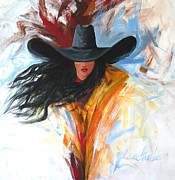 Contemporary Cowgirl Posters - Brushstroke Cowgirl Poster by Lance Headlee