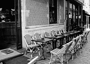 Table And Chairs Framed Prints - Brussels Cafe in Black and White Framed Print by Carol Groenen
