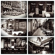Carol Groenen Framed Prints - Brussels Cafes Collage Framed Print by Carol Groenen