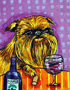 Vineyard Art Painting Posters - Brussels Griffon at the Wine Bar Poster by Jay  Schmetz