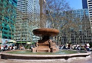 Bryant Park Fountain Print by Tony Ambrosio