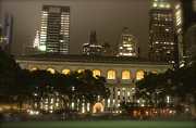 Bryant Park In New York City At Night Print by Michael Dagostino