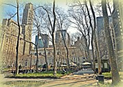 Bryant Photo Framed Prints - Bryant Park Library Gardens Framed Print by Tony Ambrosio