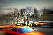 Bryant Park New York Framed Prints - Bryant Park Taxi Framed Print by Diana Angstadt