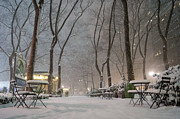 Winter Night Metal Prints - Bryant Park - Winter Snow Wonderland - Metal Print by Vivienne Gucwa