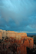 Storm Prints Posters - Bryce Canyon and Stormy Sky Poster by Bruce Gourley