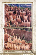 Picture Window Frame Photos Art - Bryce Canyon Utah View Through A White Rustic Window Frame by James Bo Insogna