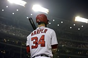 Nationals Baseball Framed Prints - Bryce Harper Framed Print by Sanely Great