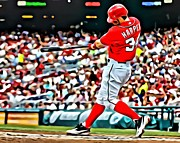 Washington Nationals Framed Prints - Bryce Harper Painting Framed Print by Florian Rodarte
