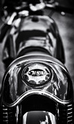 Racer Metal Prints - BSA Cafe Racer Monochrome Metal Print by Tim Gainey