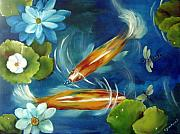 Koi Fish Painting Posters - Bubble Maker Poster by Carol Sweetwood