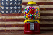 Machine Framed Prints - Bubblegum machine and American flag Framed Print by Garry Gay