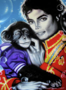 King Of Pop Paintings - Bubbles by Alicia Hayes