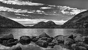 Jordans Prints - Bubbles at Jordan Pond BW Print by Donald Withers