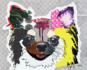 Dog Print Mixed Media Prints - Bubbles Print by Michel  Keck