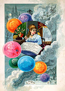 Cards Vintage Digital Art Prints - Bubbles Print by Munir Alawi