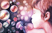 Children With Bubbles Paintings - Bubbles by Natasha Denger