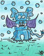 Bubbles Drawings Prints - Bubbles the PupBatDragon Print by Jera Sky