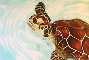 Silk Paintings - Bubbles the Turtle by Kellie Gouger