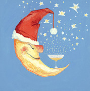 Champagne Painting Prints - Bubbly Christmas Moon Print by David Cooke