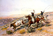 Indian Warrior Art Posters - Buccaroos Poster by Charles Russell