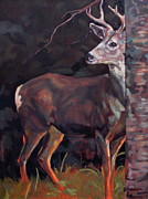 North American Wildlife Painting Posters - BUCK at SULLIVAN Poster by Patricia A Griffin