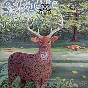 Hallucination Painting Prints - Buck Print by Gary Peterson