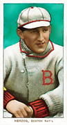 Cards Vintage Prints - Buck Herzog Boston Braves Baseball Card 0500 Print by Wingsdomain Art and Photography
