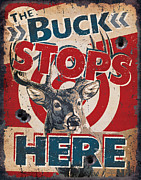 Whitetail Framed Prints - Buck Stops Here Sign Framed Print by JQ Licensing