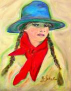 Cowgirl Prints Paintings - Buckaroo Cowgirl by Jodie  Scheller