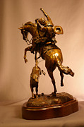 Cowboy Sculpture Posters - Buckaroo on rearing horse roping calf bronze sculpture titled LITTLE STINKER Poster by Kim Corpany